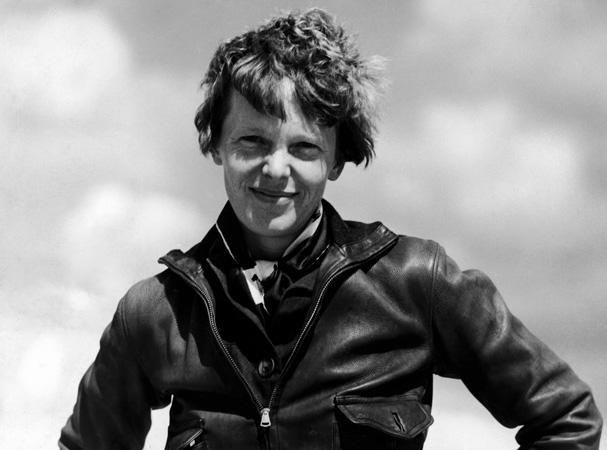 Portrait of aviatrix Amelia Earhart.
