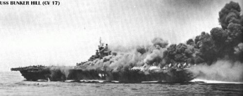 USS Bunker Hill hit by Kamikazees