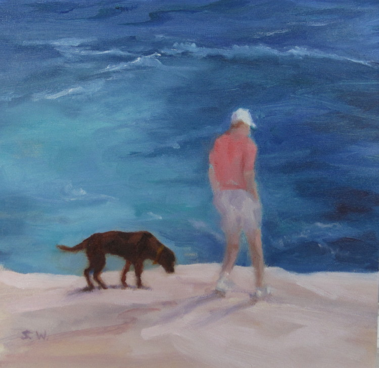 Man and His Dog on Rocks above Atlantic