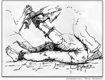 Luke McGrath sketch of stress position torture used by the North Vietnamese against captured US Airmen